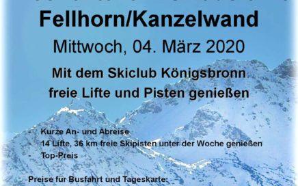 Wochenteiler Skiausfahrt Fellhorn/Kanzelwand Mittwoch 04. März 2020